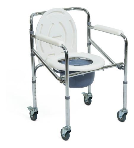 silla de baño cromada, ayuda sanitaria con ruedas ft-700