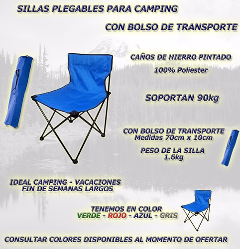 silla de camping director plegable - con bolso de transporte