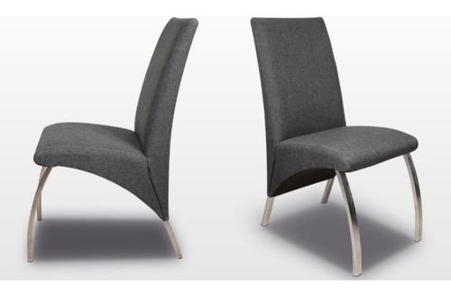 silla de comedor con caño cromado tapizada de chenille pana o ecocuero - la volentiera - gabbiano