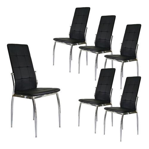 silla de comedor de ecocuero pata cromada - new paris x 6