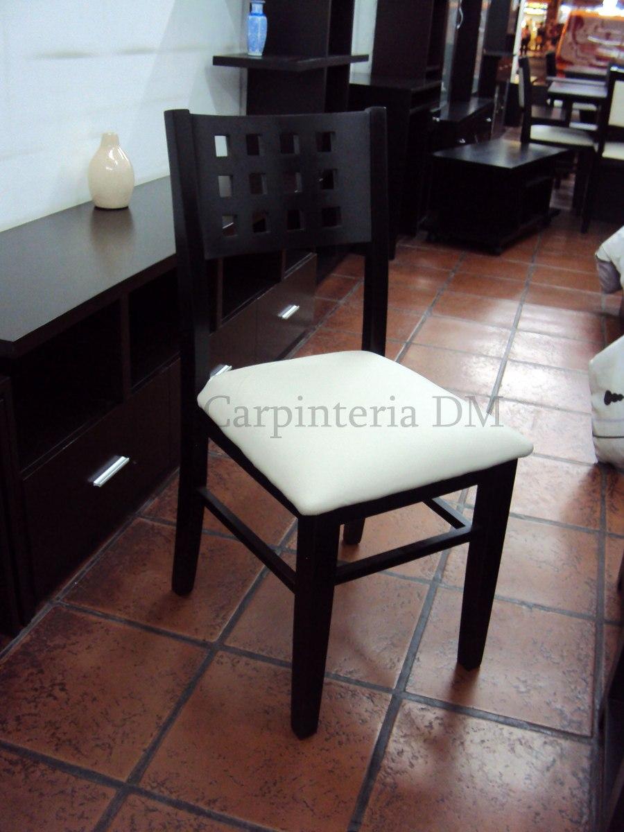 Silla De Comedor Madera Tapizada Wengue Negro - $ 4.279,00 en ...