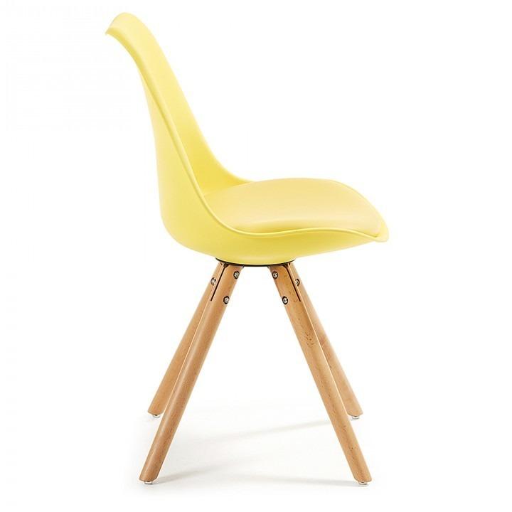 Silla De Comedor Moderna, Modelo Ralf, Color Amarillo