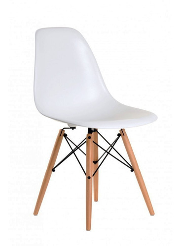 silla de comedor plástico diseño dsw pata madera - eames x 4 sin interés