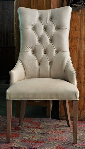silla de comedor restoration martine madera capitone cuero