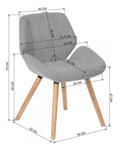 silla de comedor set de 2 hayo tapizada gris patas de madera