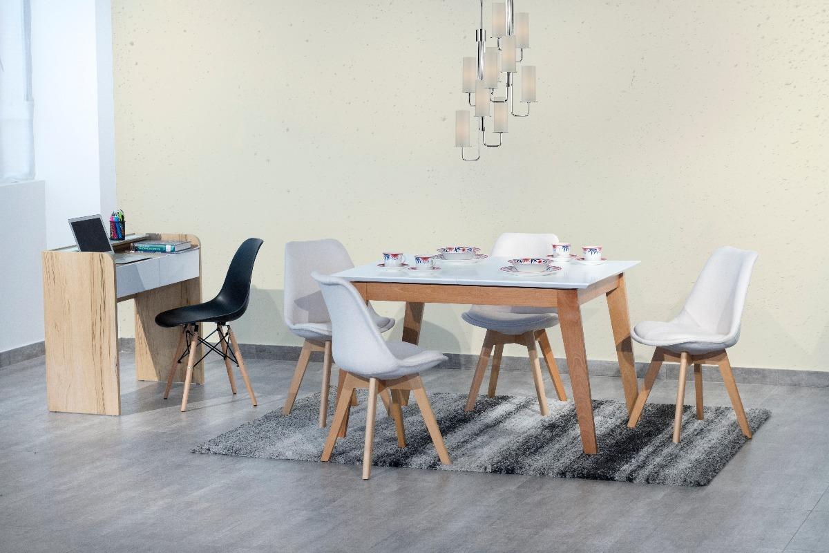 Silla de comedor tapizado patas en madera deli gris oscuro for Sillas grises para comedor