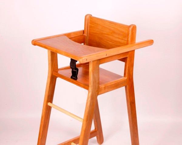 Silla de comer bebes y ni os maderas nativas dise o for Silla de bebe de madera