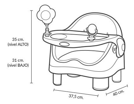 silla de comer booster bebé doble altura carestino
