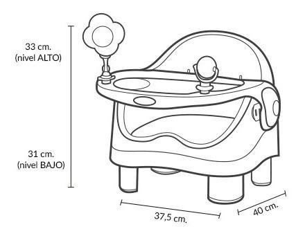silla de comer booster gris bebé doble altura carestino