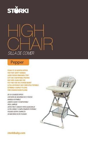 silla de comer plegable pepper storki - envío gratis