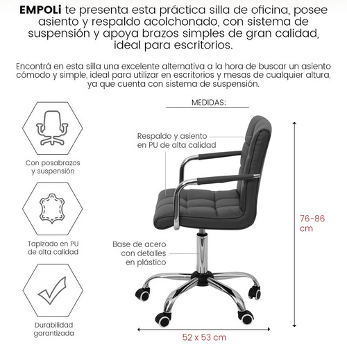 silla de diseño empoli acolchonada c/ posabrazos oficina loi