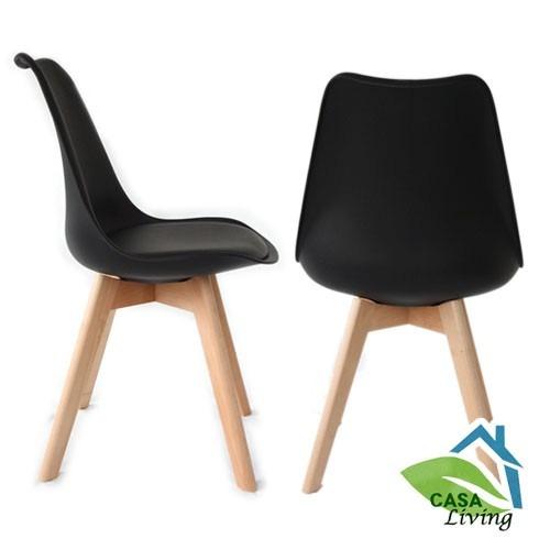 Silla de eames comedor con cojin negro x1 oficina bar for Cojin silla oficina