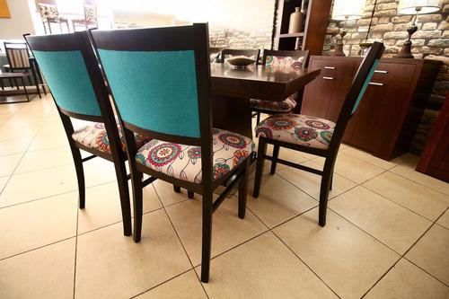 silla de guatambu lustrado tapizdas en chenille