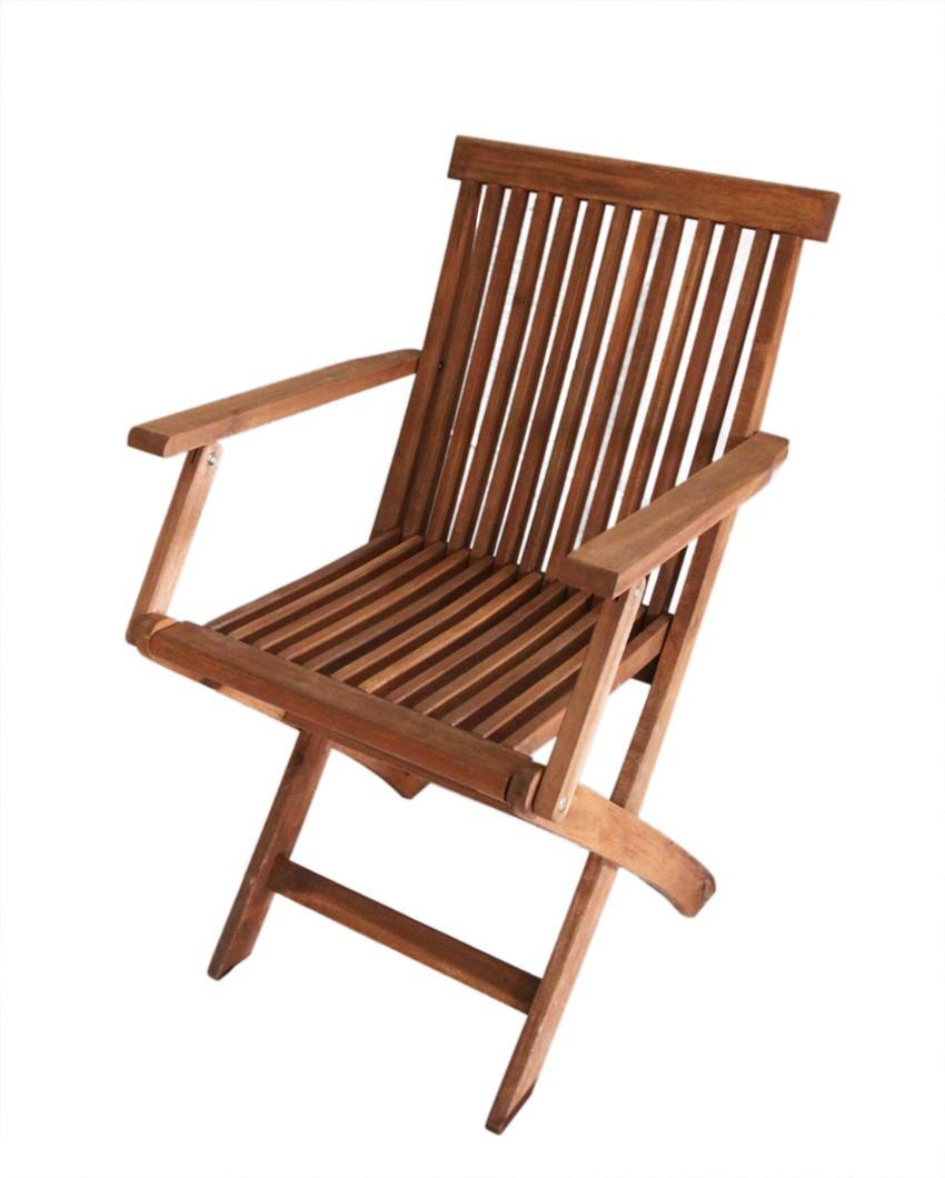 Silla de madera acacia con posabrazo para uso exterior for Sillas de madera para exterior