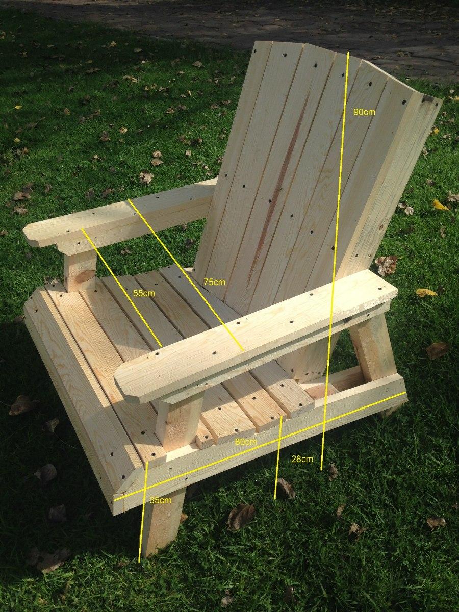 Silla de madera jardin terraza no adirondack 2 500 for Kiosco de madera para jardin