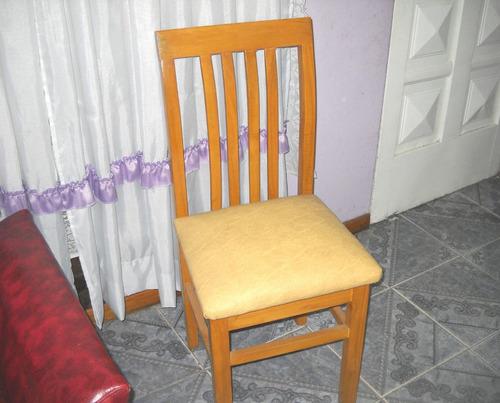 silla de madera paraiso, roble o caoba tapizada en talampaya