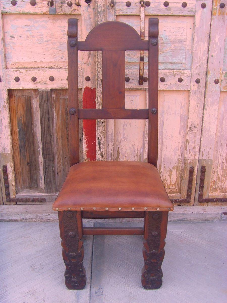 Silla de mezquite y hierro forjado estilo antiguo - Sillas en hierro forjado ...