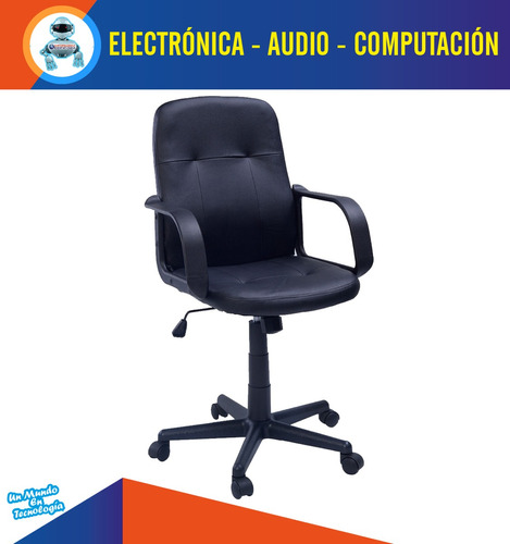 silla de oficina giratoria rígido con apoya brazos negro new