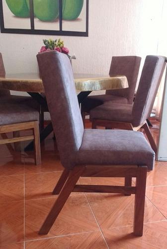silla de parota tapizada