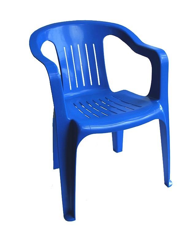 Silla de plastico resistente brexia azul en for Sillas de plastico precio
