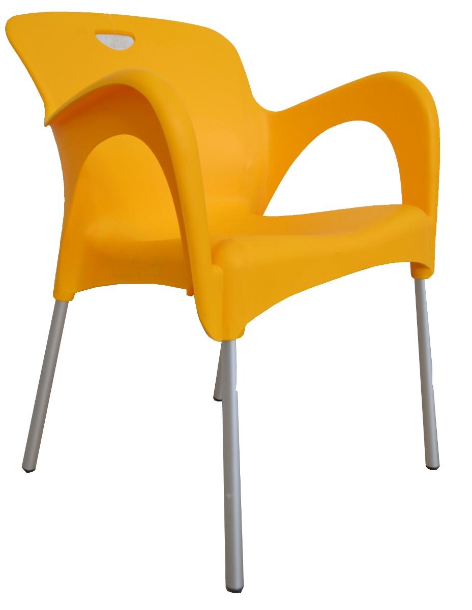 Silla de plastico y acero de colores para exterior r41 for Sillas para exterior