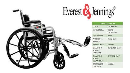 silla de ruedas con elevapiernas cromada (e&j)