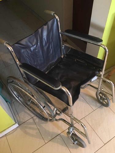 silla de ruedas manual cromada