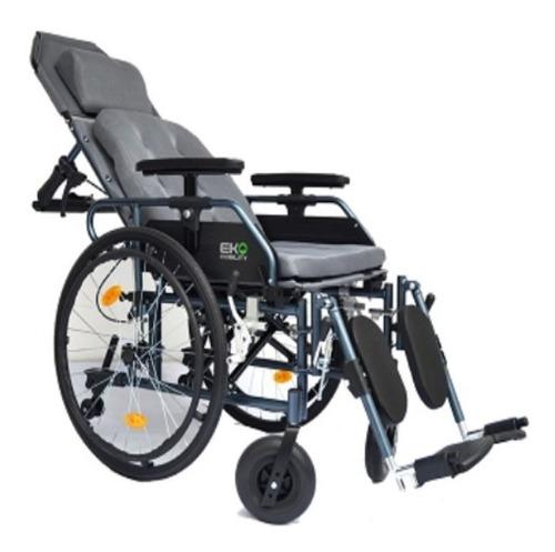silla de ruedas reclinable acojinada de aluminio