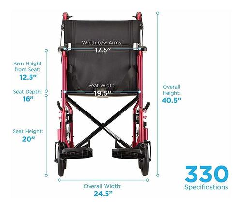 silla de transporte ligera nova con frenos de mano con ...