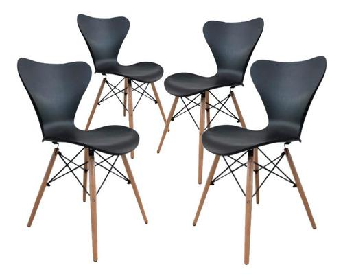silla deco comedor patas de madera jacobsen eames 4 unidades