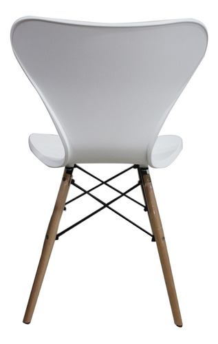 silla deco comedor patas de madera jacobsen eames blanca