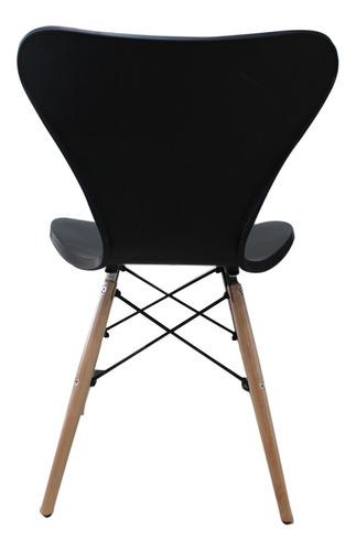 silla deco comedor patas de madera jacobsen eames negra