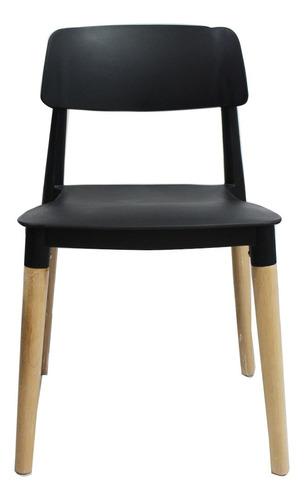 silla deco comedor patas de madera negra eames