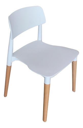 silla deco comedor patas de madera tipo eames blanca