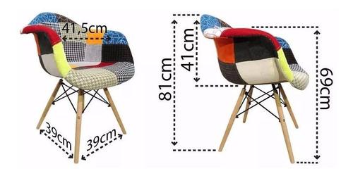 silla diseño eames tapizada en patchwork con posa brazo