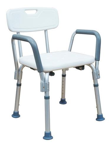 silla ducha baño aluminio con respaldo y descansa brazos