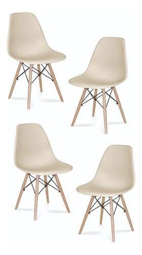 silla eames beige combo cuatro unidades