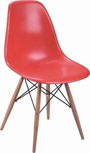 silla eames blanca de comedor pvc patas de madera reforzada