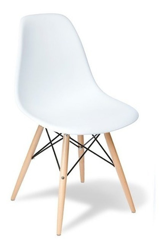 silla eames blanca patas de madera pack x 4 - living style