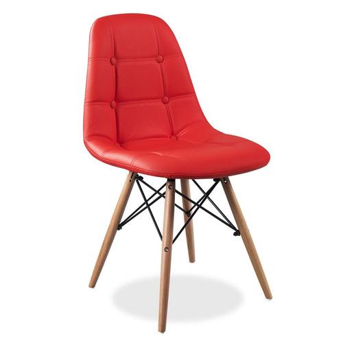 silla eames capitone rojo eco cuero acolchada pata madera