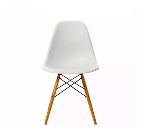silla eames comedor plastico patas de madera diseño x 4 uni