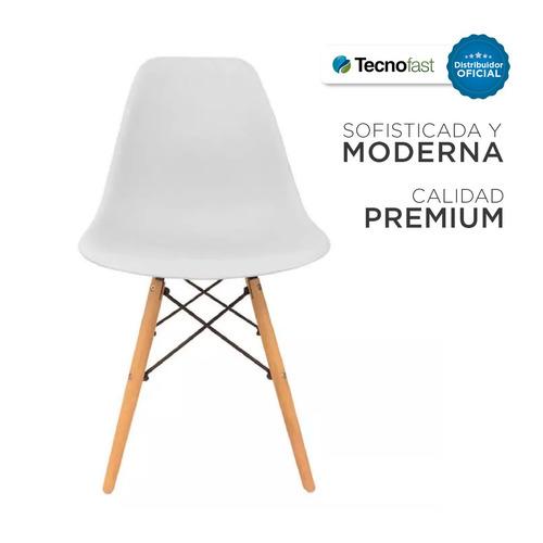 silla eames de comedor blanca plástico patas madera oferta