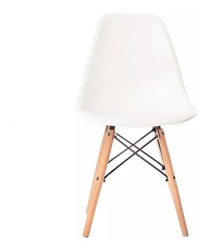 silla eames diseño patas madera dsw colores x4