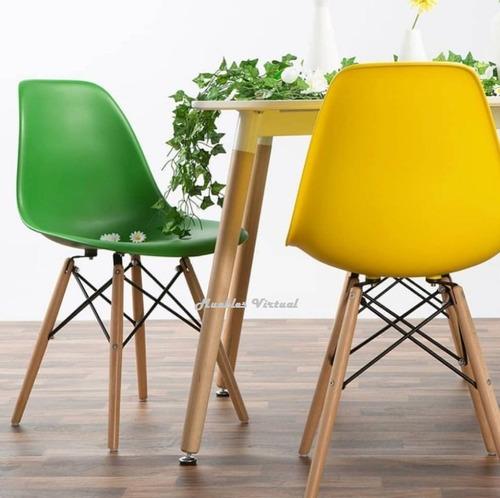 silla eames patas de madera colores la mejor calidad!!
