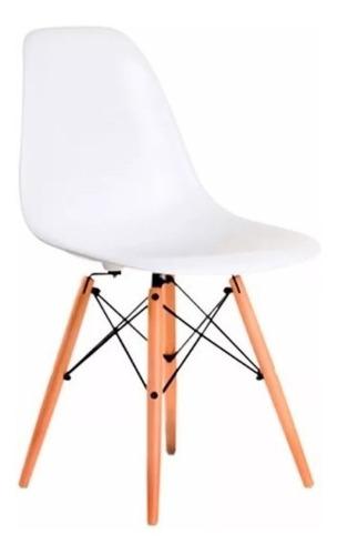 silla eames patas madera plastico blanco x 4 kromo-s