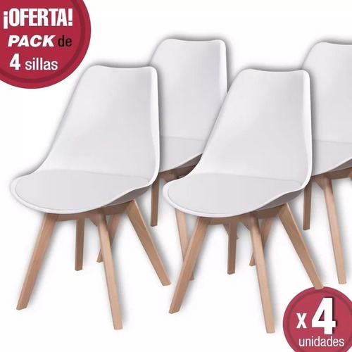 silla eames tulip con almohadon dsw patas de madera x4