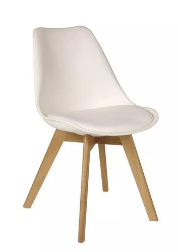 silla eames tulip con almohadon patas de madera