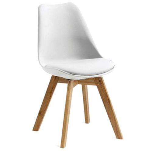 silla eames tulip con almohadon patas de madera hot sale