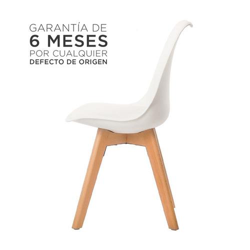silla eames tulip con almohadon patas madera moderna blanca