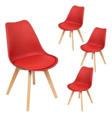 silla eames tulip pata madera x 4 un - envío s/c cuotas !!!!
